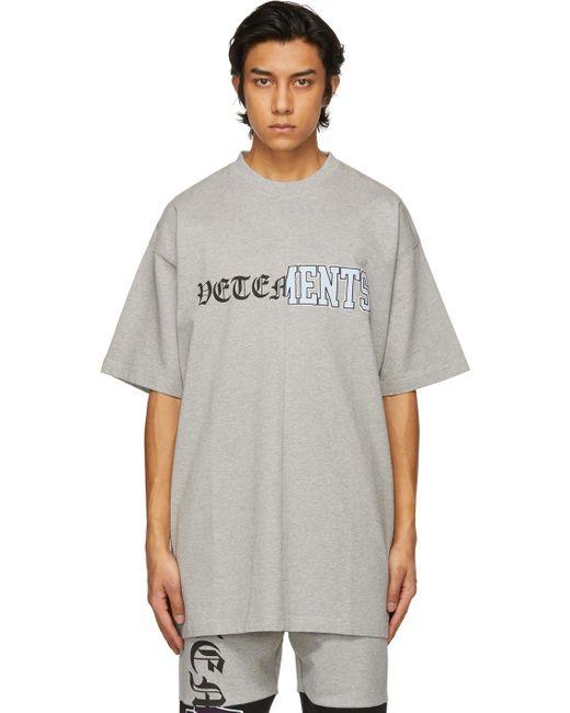 メンズ Vetements グレー Vertical Cut-up ロゴ T シャツ Gray