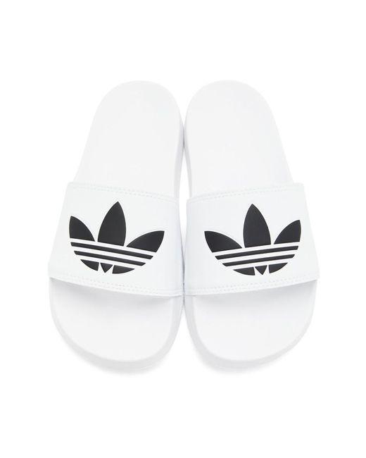 メンズ Adidas Originals ホワイト Adilette Lite プール スライド White