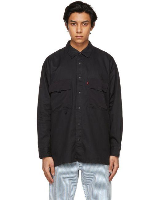 メンズ Levi's ブラック オーバーサイズ ワーク シャツ Black