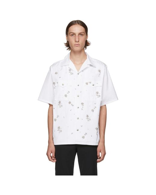 メンズ Prada ホワイト クリスタル ボウリング シャツ White