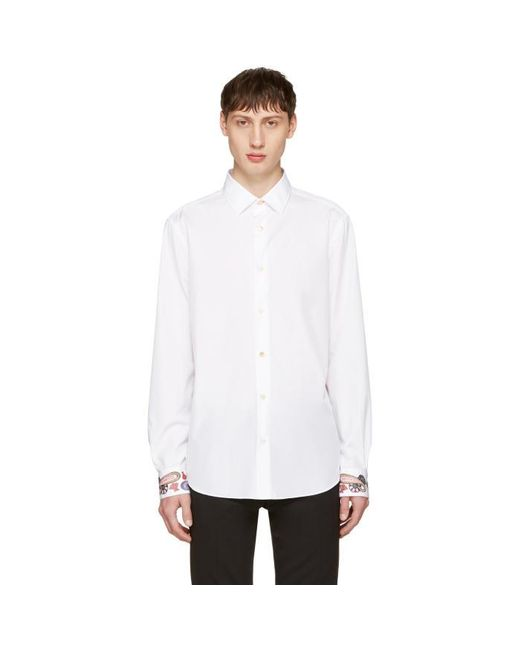 Paul Smith | White Embroidered Cuff Shirt for Men | Lyst