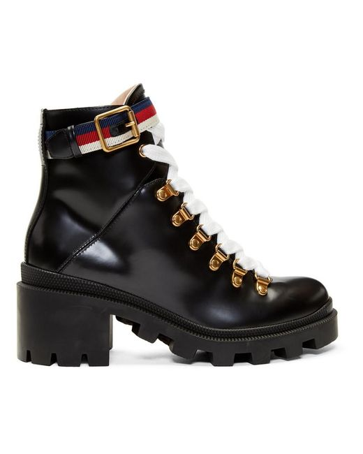 Gucci Leather Ankle Boot With Sylvie