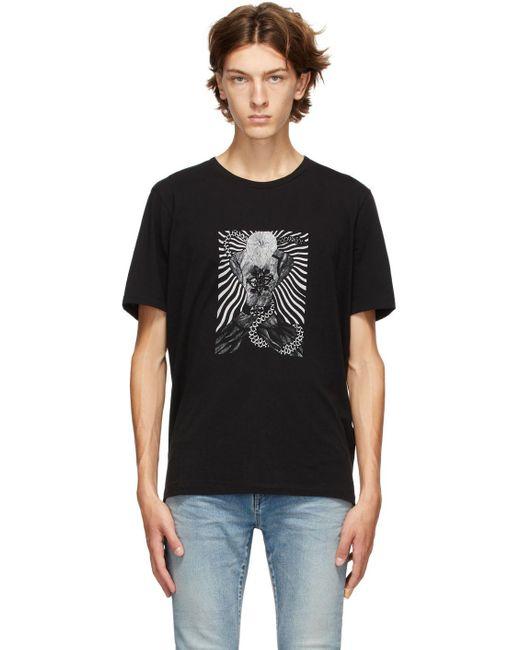メンズ Saint Laurent ブラック グラフィック T シャツ Black