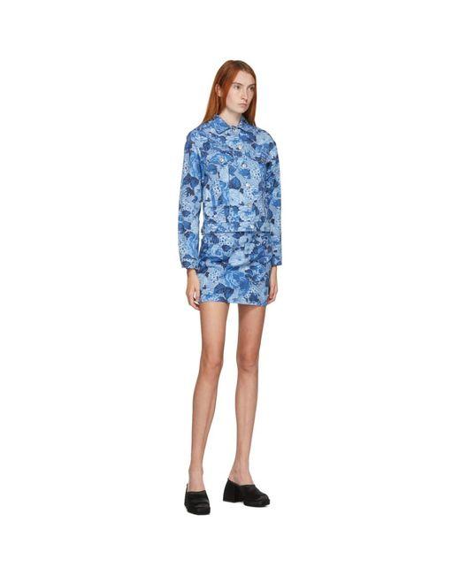 MSGM ブルー デニム フローラル ミニスカート Blue