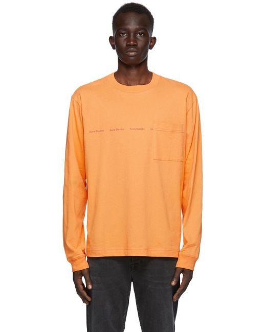 メンズ Acne オレンジ ロゴ ロング スリーブ T シャツ Orange