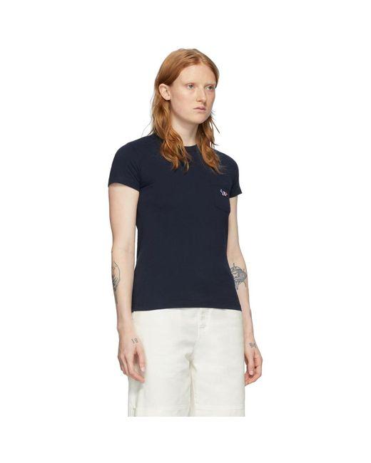Maison Kitsuné ネイビー トリコロール フォックス T シャツ Blue