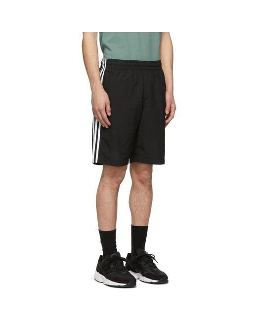 5ddf19f72c ... Adidas Originals - Black 3-stripe Swim Shorts for Men - Lyst ...