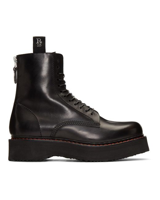 R13 Single Stacked Black Leather Boots for men