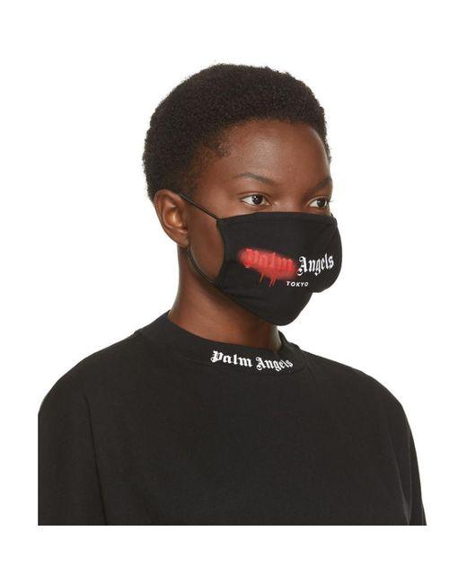 Palm Angels ブラック And レッド スプレー ロゴ マスク Black