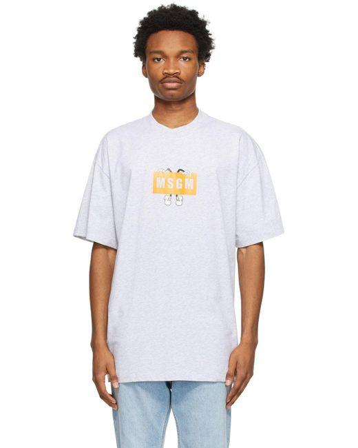 メンズ MSGM グレー ロゴ T シャツ Gray