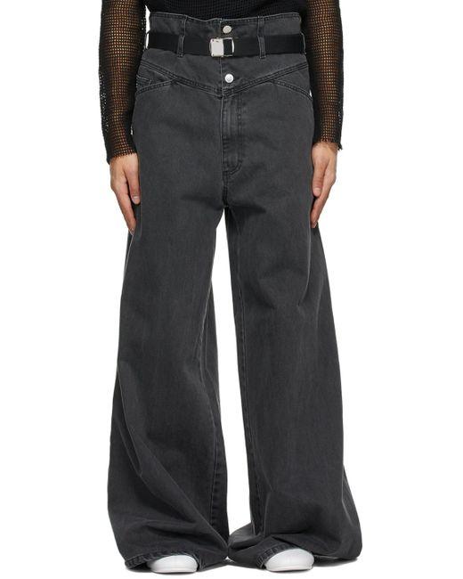 メンズ Raf Simons ブラック オーバーサイズ ワイド ジーンズ Black