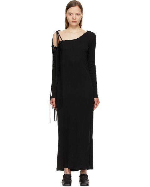 Yohji Yamamoto ブラック Sleeve Cord ロング ドレス Black