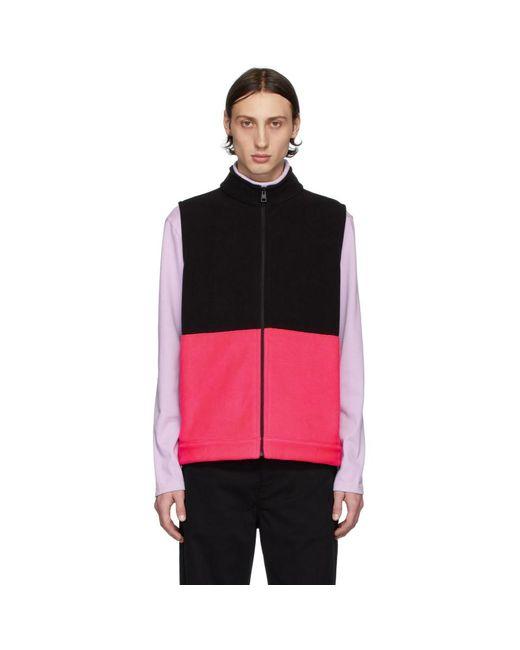 メンズ Harris Wharf London ブラック And ピンク Polaire ベスト Multicolor