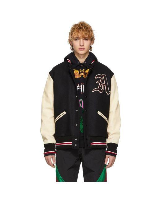 メンズ Gucci ブラック And ホワイト パッチ ボンバー ジャケット Black