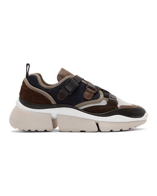 Chloé - Black And Brown Sonnie Sneakers - Lyst
