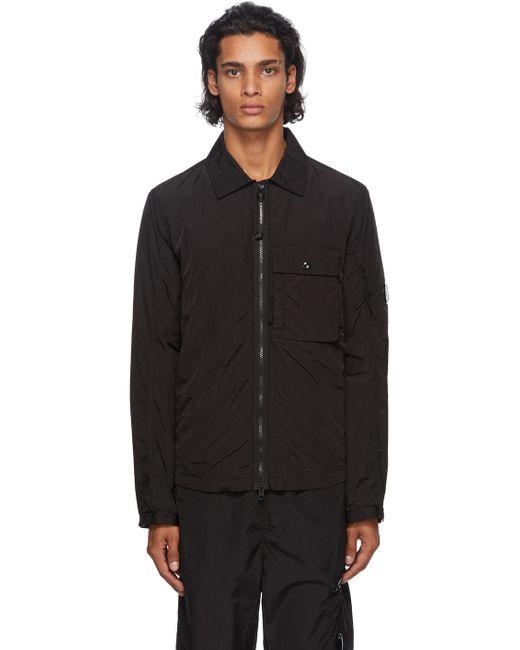メンズ C P Company ブラック ナイロン カーゴ オーバー シャツ ジャケット Black
