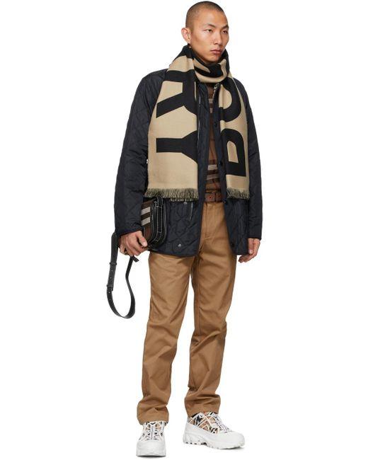メンズ Burberry リバーシブル ブラウン & ブラック E キャンバス チェック ベルト Brown