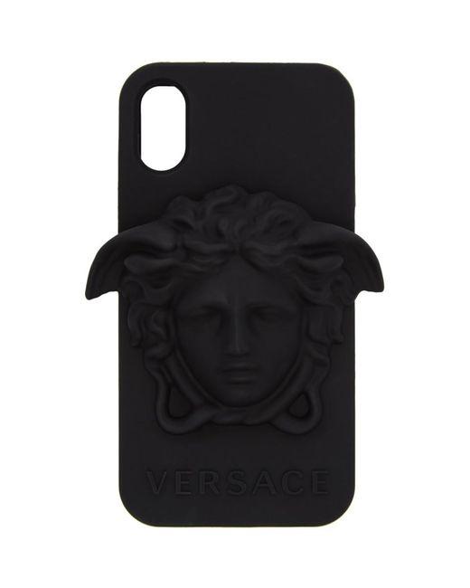 メンズ Versace ブラック メドゥーサ Iphone X ケース Black