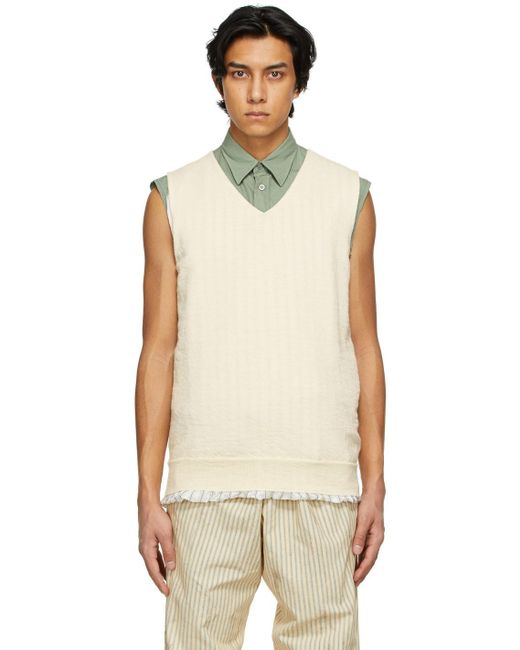 メンズ Maison Margiela オフホワイト V ネック セーター White