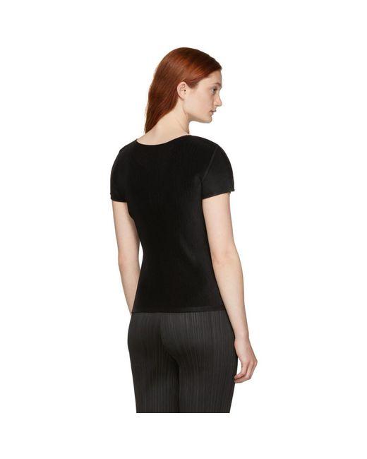 favor por Miyake Lyst camiseta Basics Pliegues Black plisada Issey R4aWwxxAOq