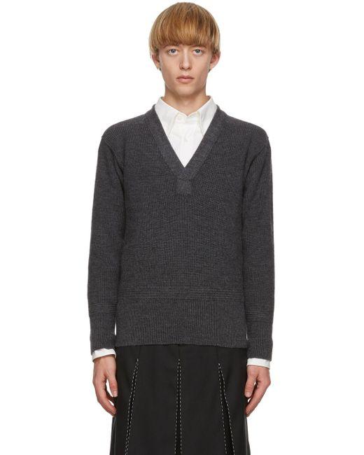 メンズ Maison Margiela グレー Gauge Half-cardigan セーター Gray