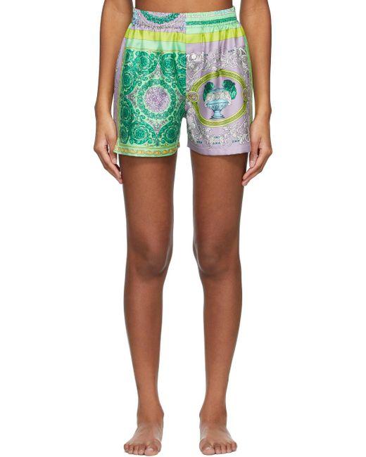 Versace マルチカラー Barocco Pyjama ショーツ Green