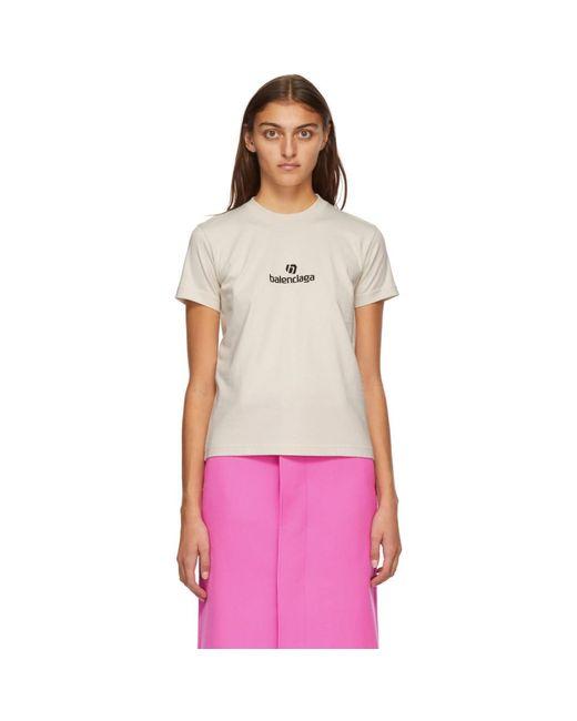 Balenciaga ベージュ Sponsor ロゴ T シャツ Multicolor