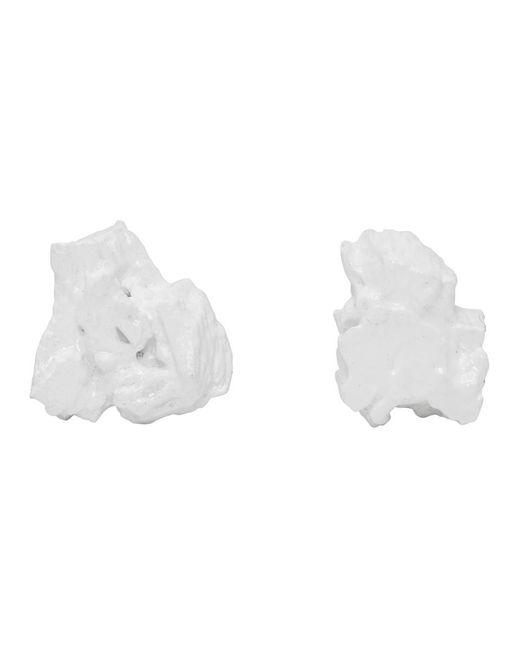 Ingy Stockholm ホワイト Object No. 102 アシンメトリ イヤリング White