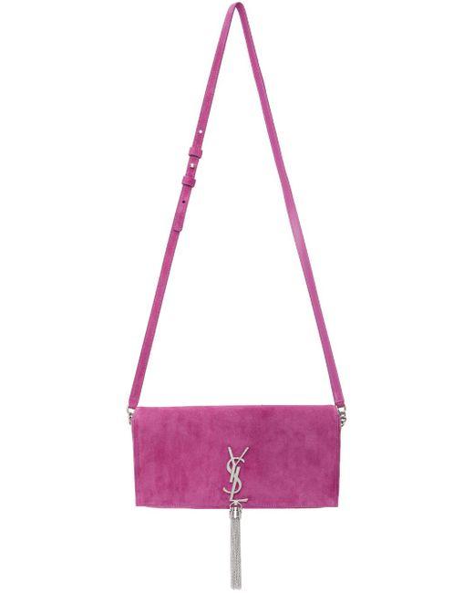 Saint Laurent ピンク スエード ミディアム Kate 99 Tassel バッグ Pink