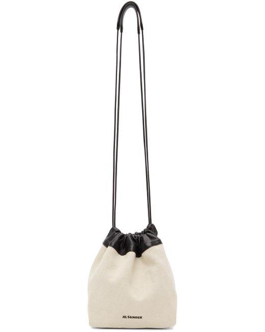 Jil Sander オフホワイト スモール ドローストリング バッグ White