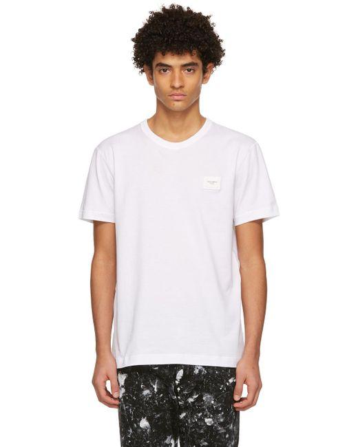 メンズ Dolce & Gabbana ホワイト ロゴ T シャツ White