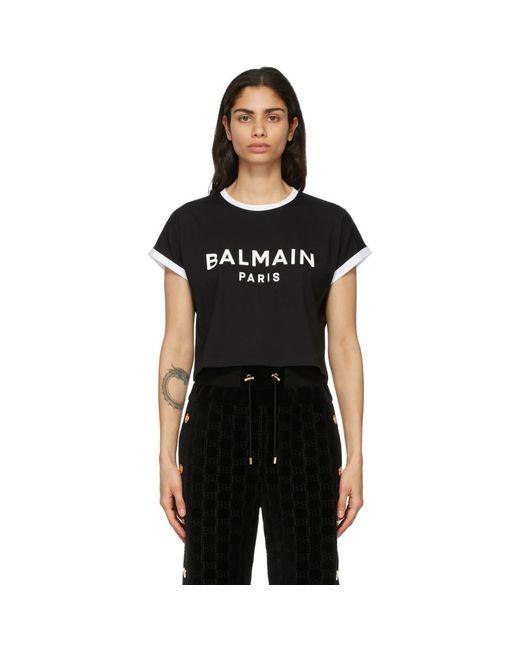 Balmain ブラック And ホワイト クロップ ロゴ T シャツ Black