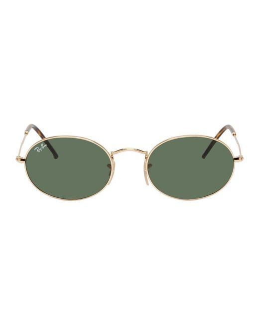 メンズ Ray-Ban ゴールド And グリーン オーバル フラット サングラス Metallic