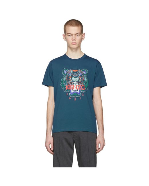メンズ KENZO 限定エディション Holiday コレクション ブルー タイガー T シャツ Blue