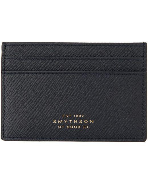 メンズ Smythson ネイビー Panama カード ケース Blue
