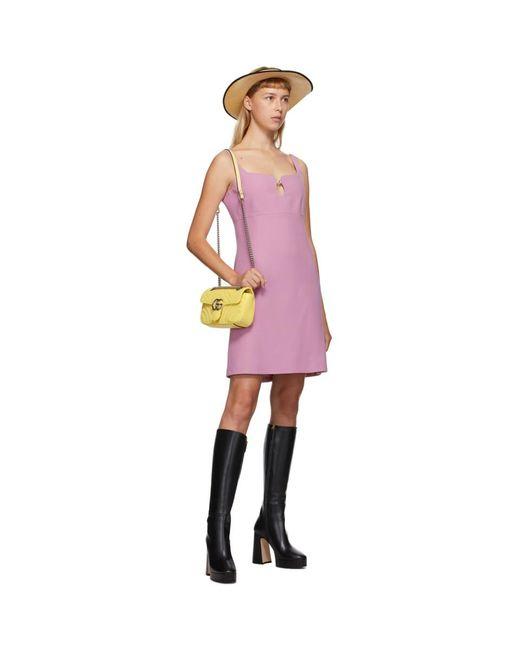 Gucci ピンク シルク And ウール キャディ クレープ ドレス Purple