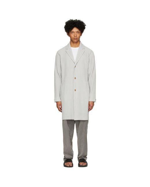 メンズ Homme Plissé Issey Miyake グレー ベーシック コート Gray