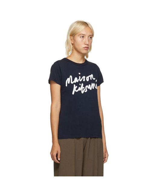 Maison Kitsuné ネイビー Handwriting クラシック T シャツ Blue