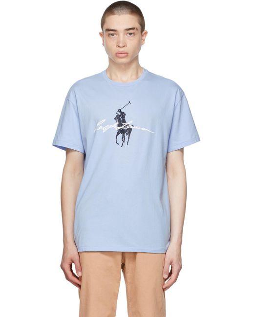 メンズ Polo Ralph Lauren ブルー Big Pony ロゴ T シャツ Blue