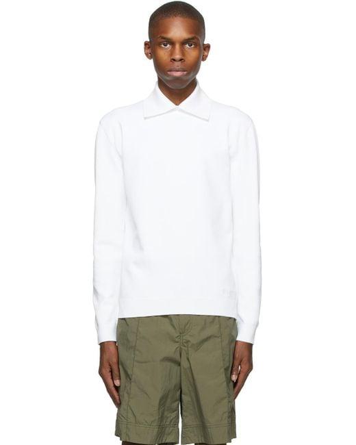 メンズ Valentino ホワイト ロング スリーブ ポロシャツ White