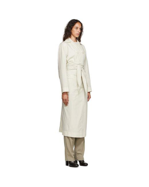 Lemaire オフホワイト コットン ドレス トレンチ コート White