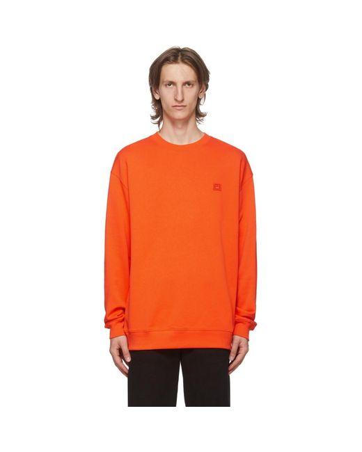 メンズ Acne オレンジ Fairview パッチ スウェットシャツ Orange