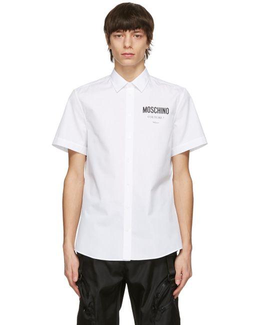 メンズ Moschino ホワイト ロゴ ショート スリーブ シャツ White