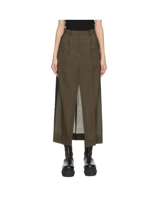 Sacai カーキ Suiting スカート Natural