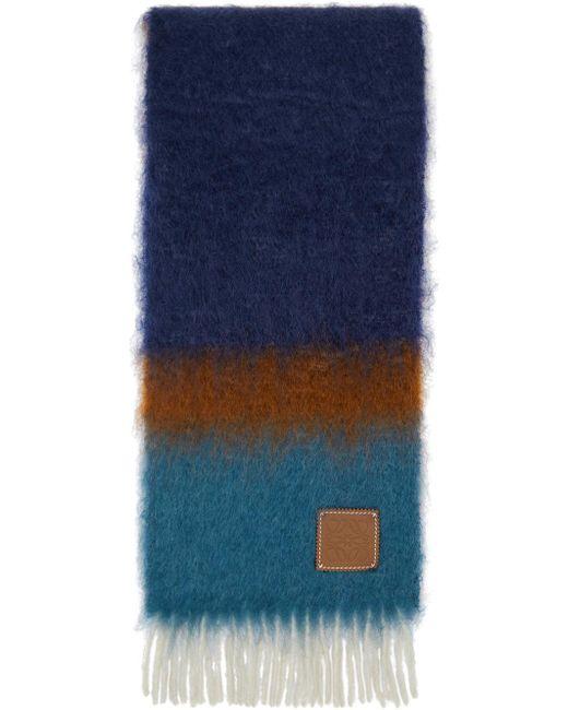 メンズ Loewe ブラウン & グリーン モヘア ストライプ マフラー Multicolor