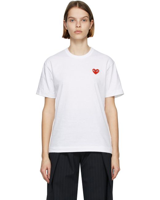 COMME DES GARÇONS PLAY ホワイト & レッド Heart Patch T シャツ White