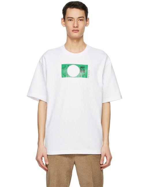 メンズ Acne Dizonord エディション ホワイト Printed T シャツ White
