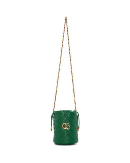 Gucci グリーン ミニ GG マーモント バケット バッグ Green