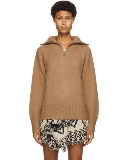 Étoile Isabel Marant ベージュ ウール Fancy ハーフジップ セーター Natural