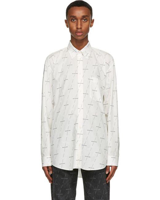 メンズ Balenciaga ホワイト Logo ノーマル フィット シャツ White
